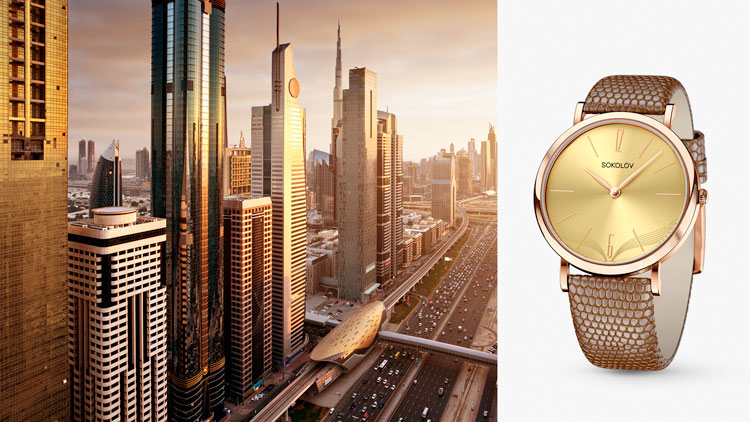 Дубай, золотые часы SOKOLOV