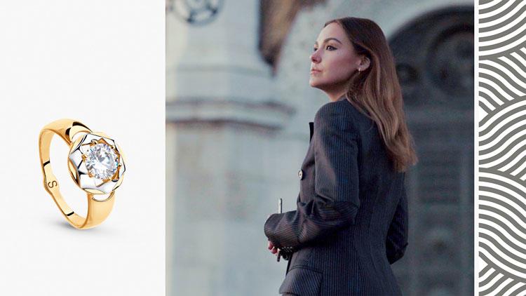 Софи Елисеева, золотое кольцо с фианитом